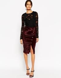 Бархатная юбка с запахом и асимметричной застежкой на пуговицы ASOS