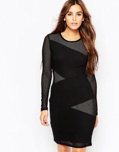 Черное платье с кружевными вставками BCBGMAXAZRIA Tanya - Черный