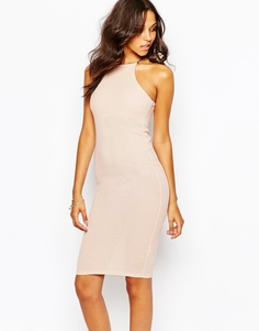 Boohoo Ribbed Bodycon Dress - Телесный