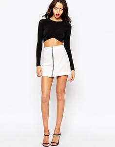 Boohoo Zip Front A Line Skirt - Белый