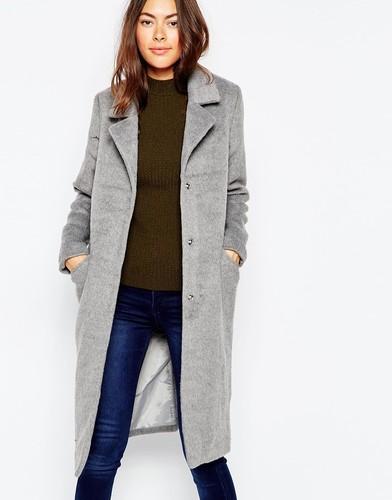 Приталенное двубортное пальто Brave Soul - Серый