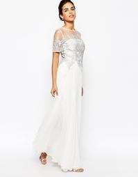 Платье макси 2 в 1 с кружевным топом Chi Chi London