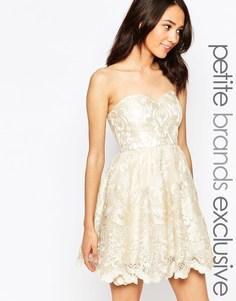Кружевное платье‑бандо для выпускного с вышивкой Chi Chi London Petite