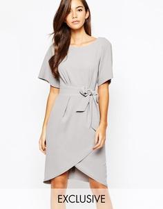 Платье с рукавами‑кимоно и завязкой спереди Closet - Светло-серый