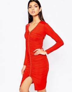 Платье на молнии с оборкой спереди Club L - Красный