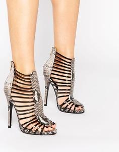 Гладиаторские сандалии на каблуке со змеиным принтом Daisy Street