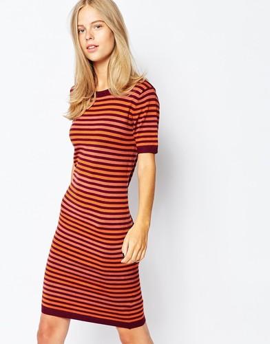 Трикотажное платье в полоску First & I - Мульти