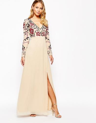 Платье макси с цветочной отделкой и разрезом Frock and Frill
