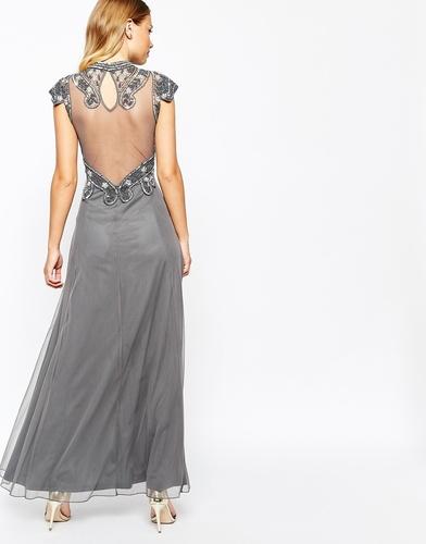 Платье макси с сетчатой спинкой и отделкой Frock and Frill