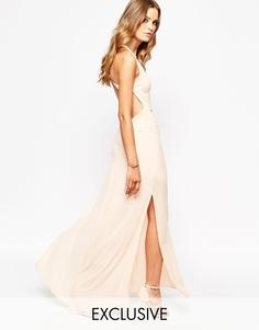 Платье макси с открытой спинкой Goldie - Телесный