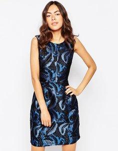 Жаккардовое платье‑футляр Ichi - Классический синий