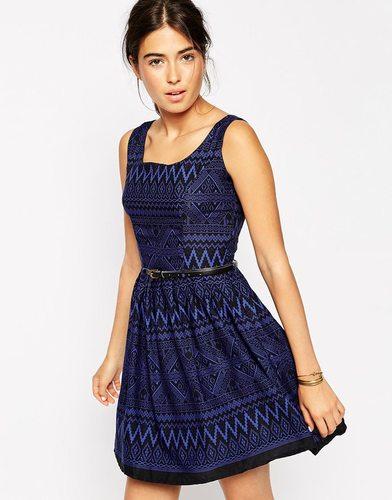 Платье с поясом и ацтекским принтом Iska - Синий