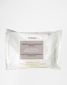 Салфетки для снятия макияжа и очищения кожи с молочными протеинами Kor Korres