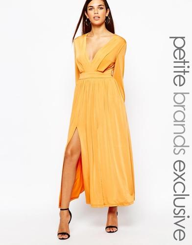 Платье макси в стиле 70-х с декольте и разрезами Lipstick Boutique Pet