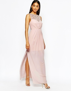 Платье макси с декорированным лифом сердечком Lipsy - Розовый