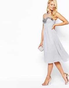 Шифоновое платье для выпускного с отделкой на груди Little Mistress