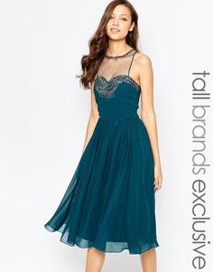 Платье миди с отделкой на лифе Little Mistress Tall - Сине-зеленый