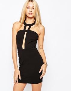 Облегающее платье с отделкой на вороте Missguided - Черный