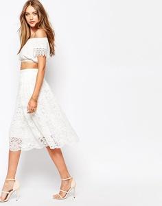 Пышная кружевная юбка миди Missguided Premium - Белый