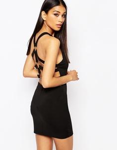 Облегающее платье с лямками и кольцами сзади Rare London - Черный