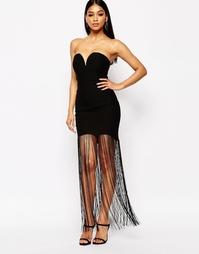 Платье-бандо с вырезом сердечком и бахромой Rare London - Черный