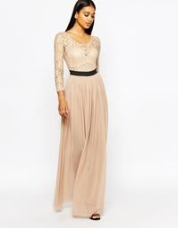 Кружевное платье макси с контрастной отделкой Rare London - Телесный