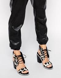 Ворсистые босоножки на каблуке с леопардовым принтом Senso Riley