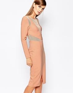 Облегающее платье с сетчатой вставкой The 8th Sign - Телесный