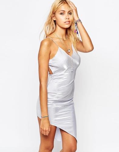 Асимметричное платье‑сорочка в стиле 90‑х Tiger Mist - Серебряный