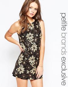 Платье с отделкой пайетками True Decadence Petite - Черный