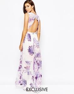 Платье макси с открытой спинкой и цветочным принтом True Violet