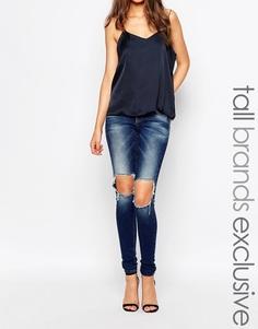 Супероблегающие джинсы с рваными коленями Vero Moda Tall - Синий