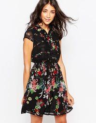 Платье-рубашка с цветочным принтом Yumi - Черный