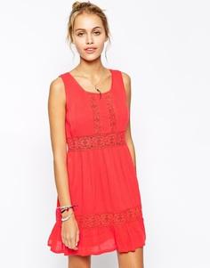 Платье из жатого хлопка с отделкой кроше Element - Коралловый