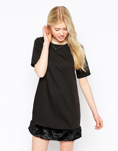 Цельнокройное платье с отделкой из искусственного меха Neon Rose