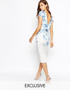 Платье-футляр с цветочным принтом True Violet - Синий