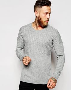ASOS Dropped Shoulder Cable Jumper in Merino wool mix - Светло-серый