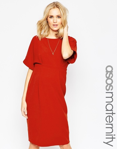 ASOS Maternity Wiggle Dress With V Back - Красно-бурый