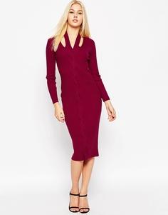 Вязаное платье миди с узором косичка и вырезами ASOS - Сливовый