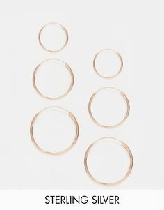 Набор из 6 серебряных серег-колец с покрытием из розового золота ASOS