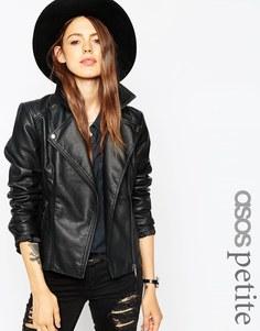 Байкерская куртка с декоративной строчкой ASOS PETITE - Черный