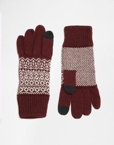 Бордовые перчатки с принтом Фэйр‑Айл для сенсорных гаджетов ASOS