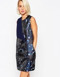 Фактурное платье мини с цветочным принтом ASOS WHITE - Темно-синий