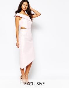 Платье миди на одно плечо с вырезами Fame And Partners Jazmina
