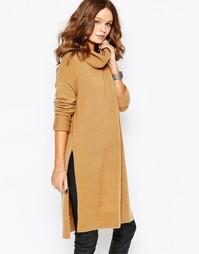 Платье с воротником-труба и разрезами по бокам Fashion Union - Серый