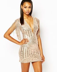 Rare London Plunge Neck Bodycon Dress In Panelled Sequin