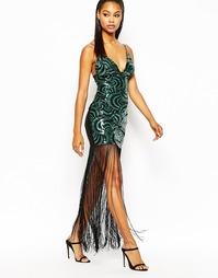 Платье макси с бахромой и пайетками Rare London - Зеленый