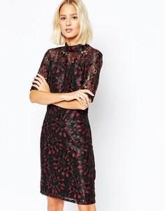 Кружевное платье мини Selected Lisa - Black and tawny