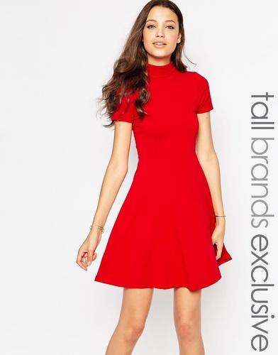 Короткое приталенное платье с высокой горловиной TTYA - Красный