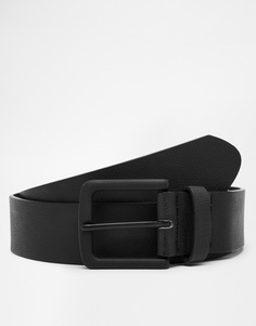 Черный ремень из искусственной кожи с черной пряжкой ASOS - Черный